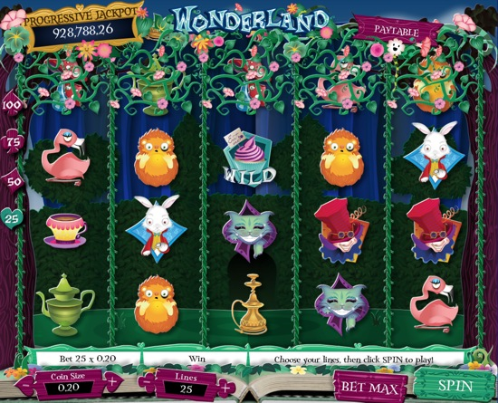 Wonderland online slot machine prizes